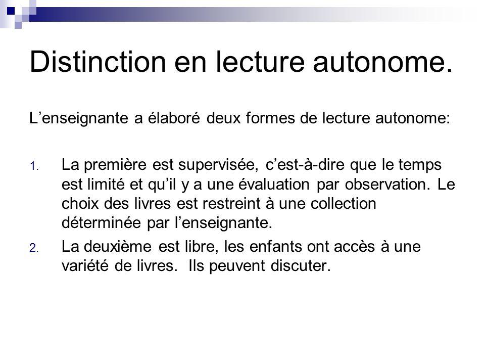 Distinction en lecture autonome.