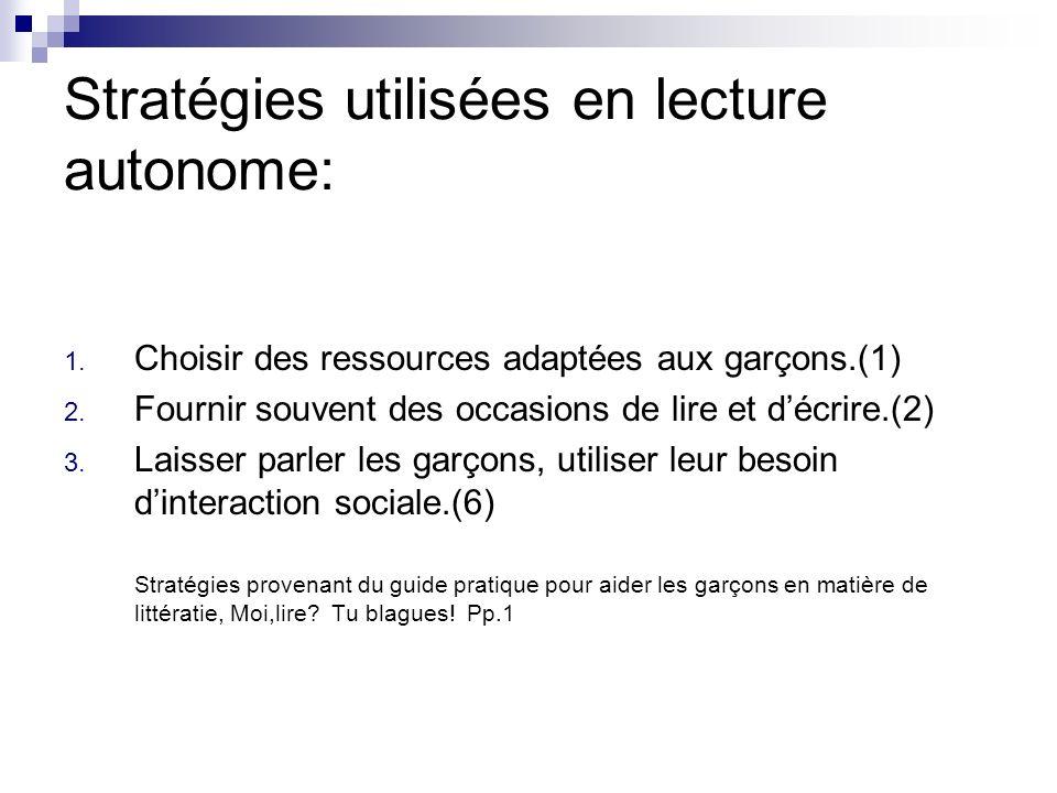 Stratégies utilisées en lecture autonome: