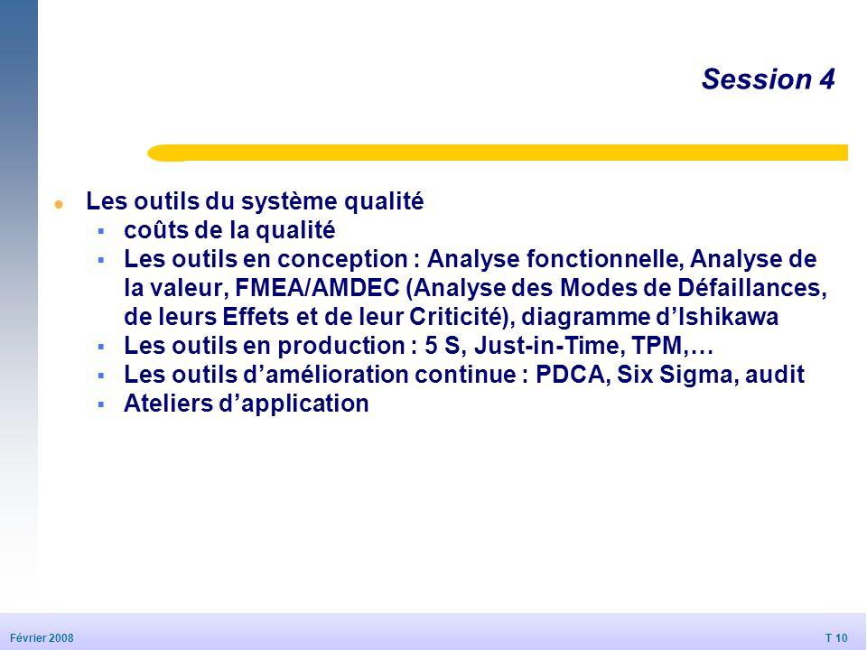 Session 4 Les outils du système qualité coûts de la qualité