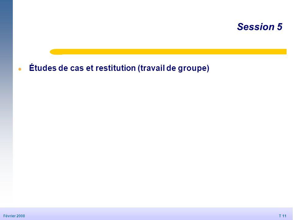 Session 5 Études de cas et restitution (travail de groupe)