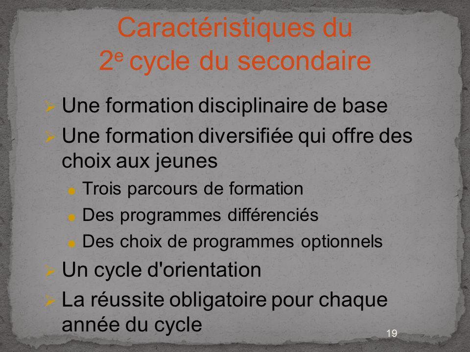 Caractéristiques du 2e cycle du secondaire