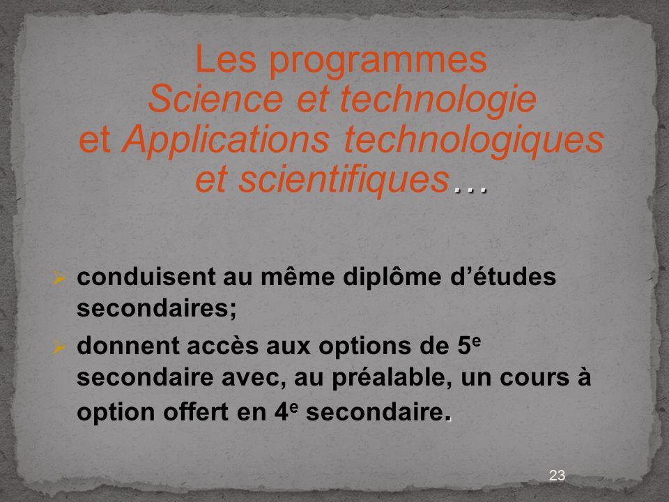 Les programmes Science et technologie et Applications technologiques et scientifiques…