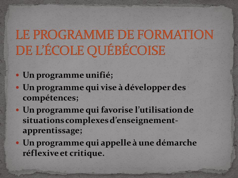 LE PROGRAMME DE FORMATION DE L'ÉCOLE QUÉBÉCOISE
