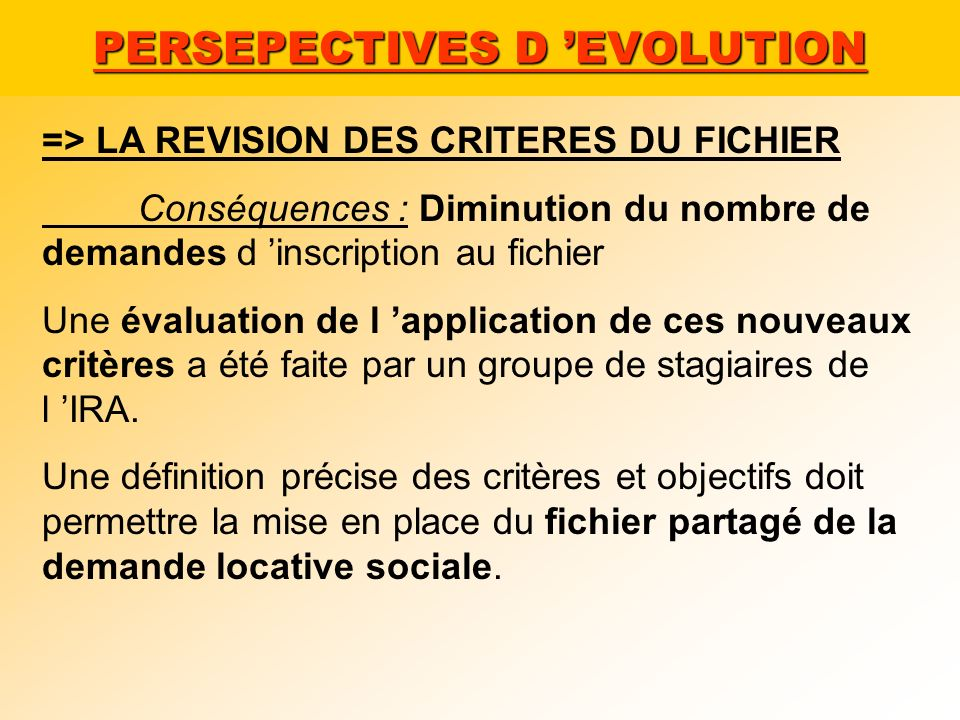 PERSEPECTIVES D 'EVOLUTION