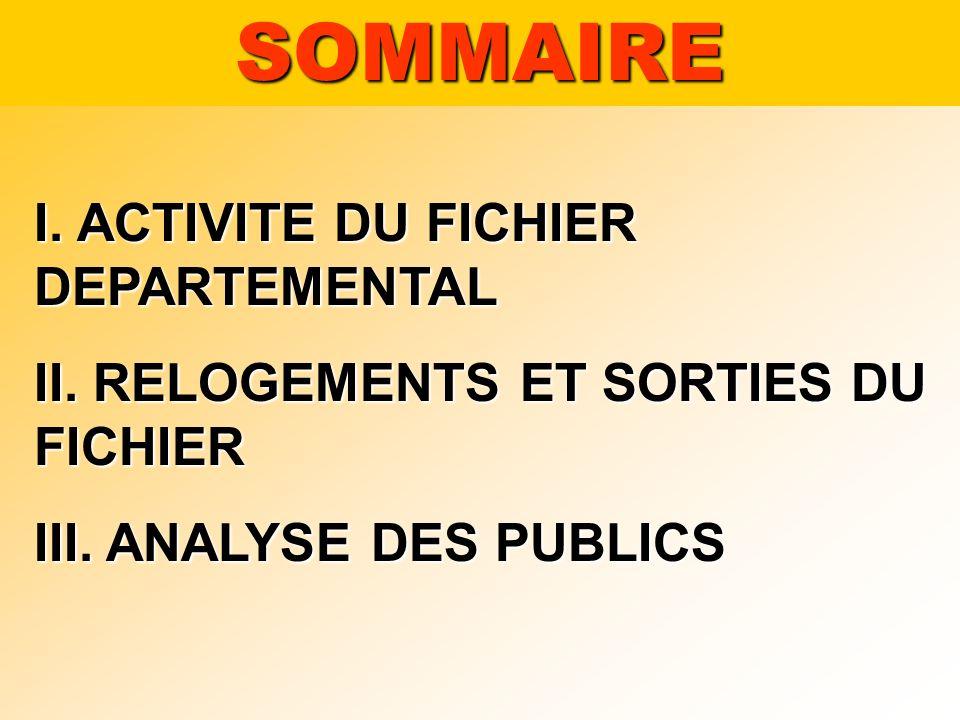 SOMMAIRE I. ACTIVITE DU FICHIER DEPARTEMENTAL