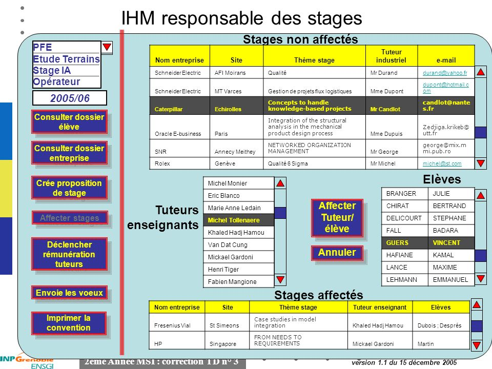 IHM responsable des stages