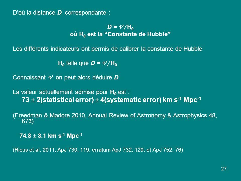 où H0 est la Constante de Hubble