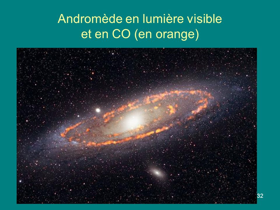 Andromède en lumière visible et en CO (en orange)