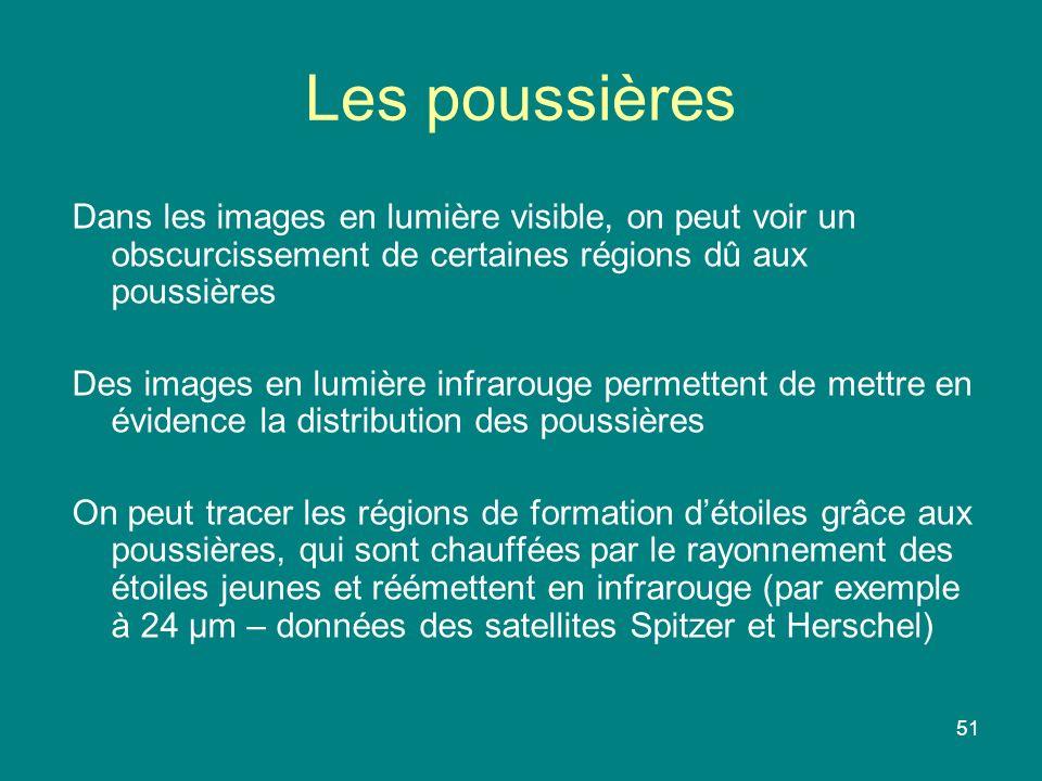 Les poussières Dans les images en lumière visible, on peut voir un obscurcissement de certaines régions dû aux poussières.