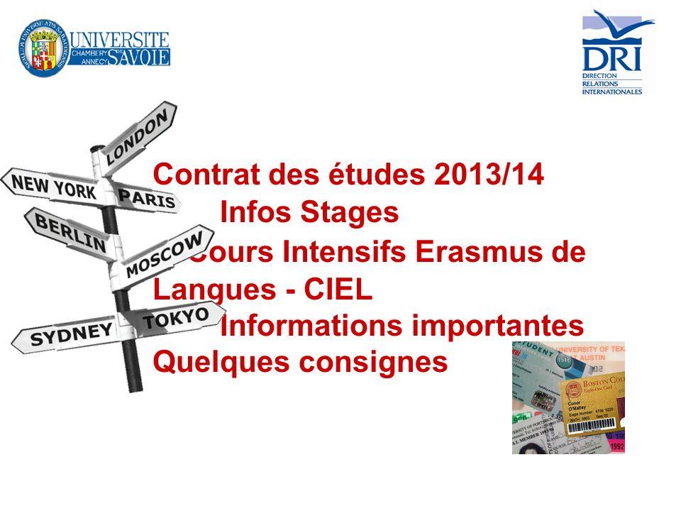 Contrat des études 2013/14. Infos Stages. Cours Intensifs Erasmus de