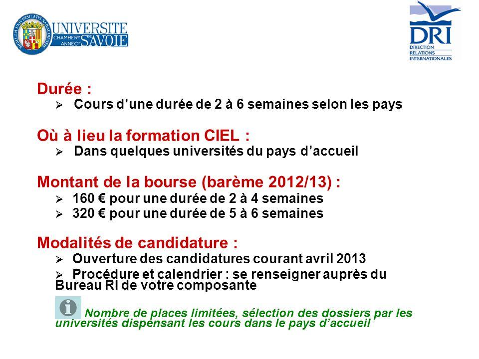 Où à lieu la formation CIEL : Montant de la bourse (barème 2012/13) :