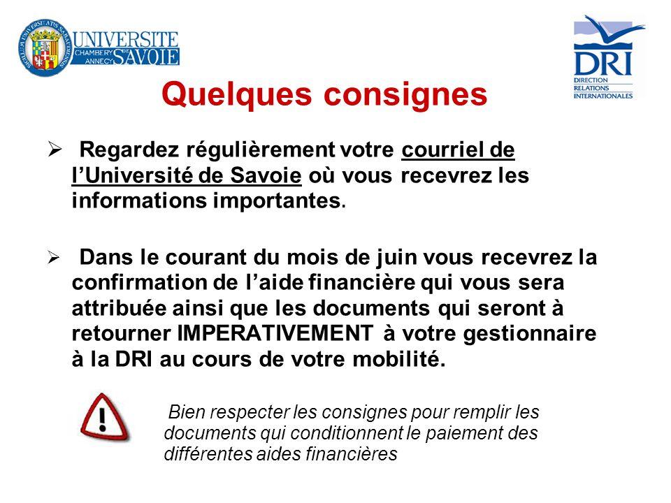 Quelques consignes Regardez régulièrement votre courriel de l'Université de Savoie où vous recevrez les informations importantes.