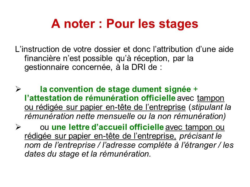 A noter : Pour les stages