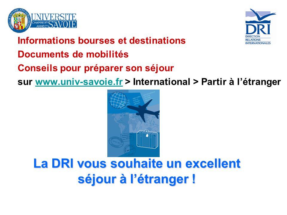 La DRI vous souhaite un excellent séjour à l'étranger !