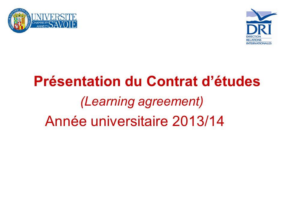 Présentation du Contrat d'études