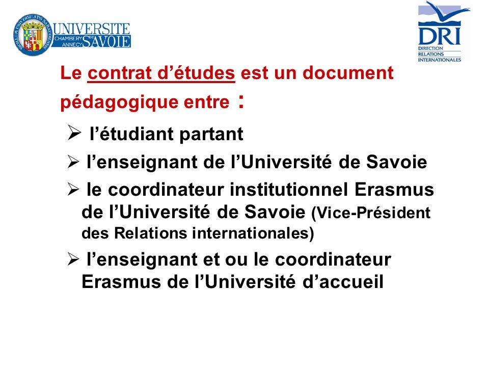 Le contrat d'études est un document pédagogique entre :