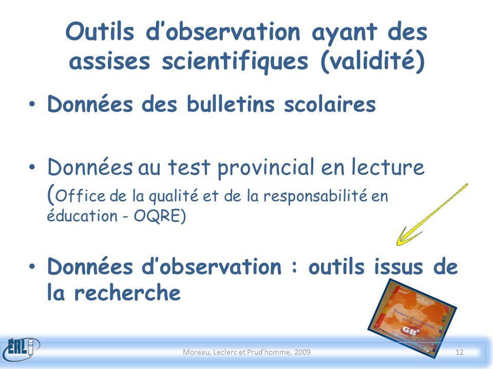 Outils d'observation ayant des assises scientifiques (validité)
