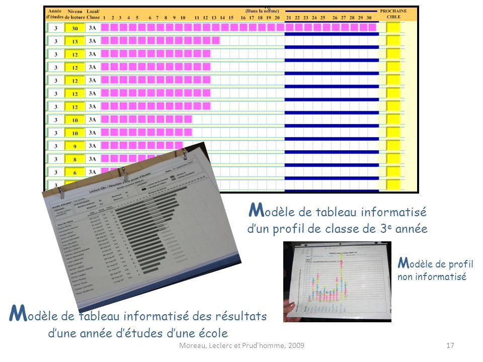 Modèle de tableau informatisé d'un profil de classe de 3e année