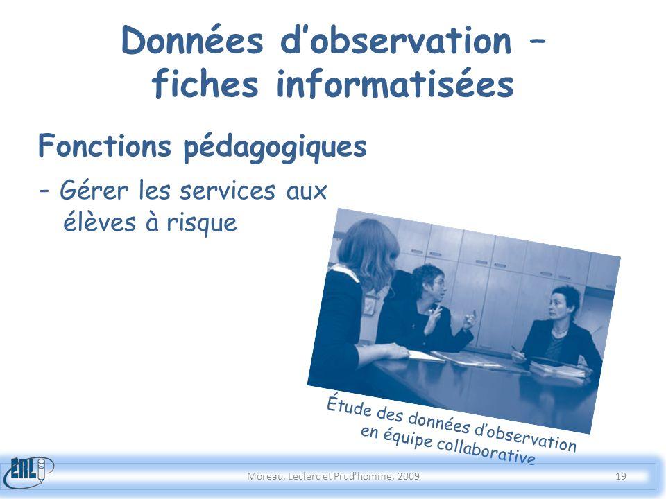 Données d'observation – fiches informatisées