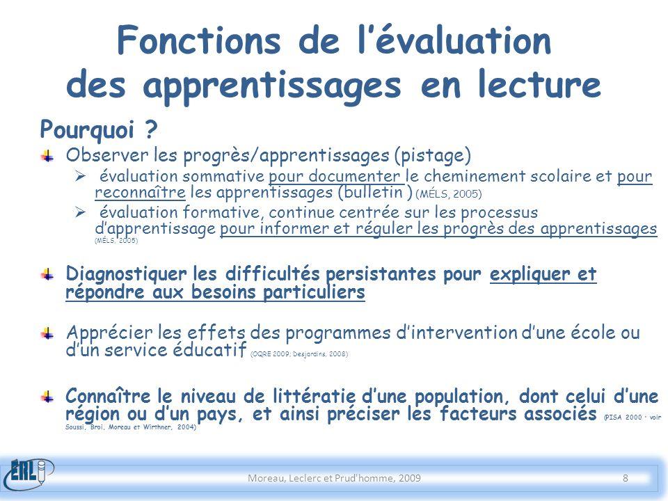 Fonctions de l'évaluation des apprentissages en lecture