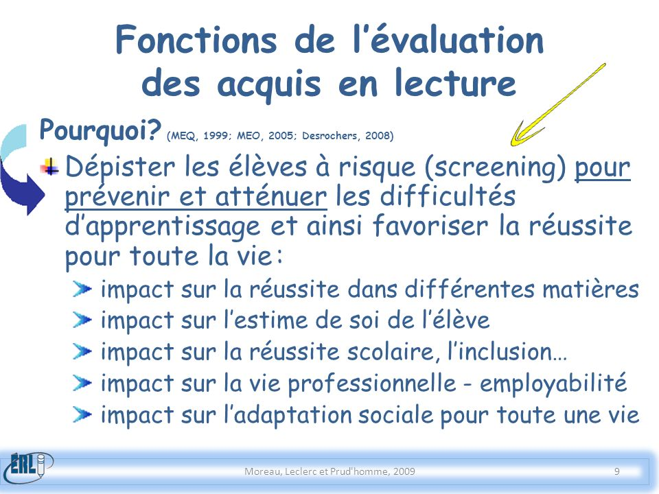 Fonctions de l'évaluation des acquis en lecture