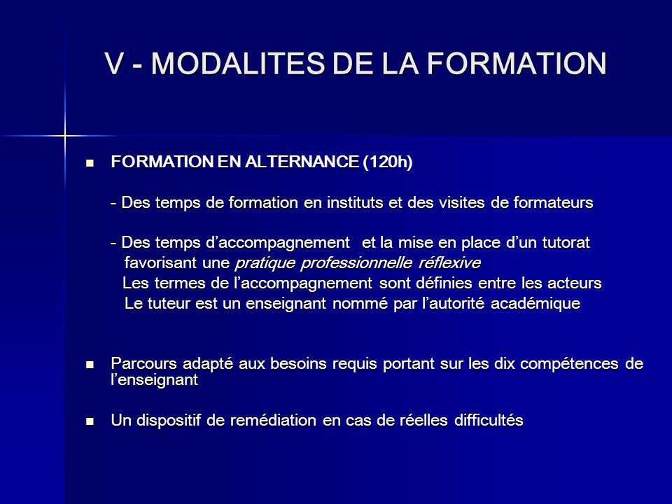 V - MODALITES DE LA FORMATION