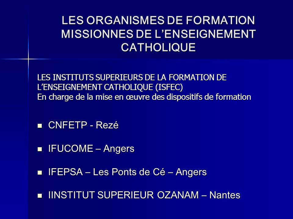 LES ORGANISMES DE FORMATION MISSIONNES DE L'ENSEIGNEMENT CATHOLIQUE