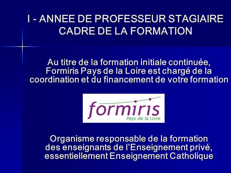 I - ANNEE DE PROFESSEUR STAGIAIRE CADRE DE LA FORMATION
