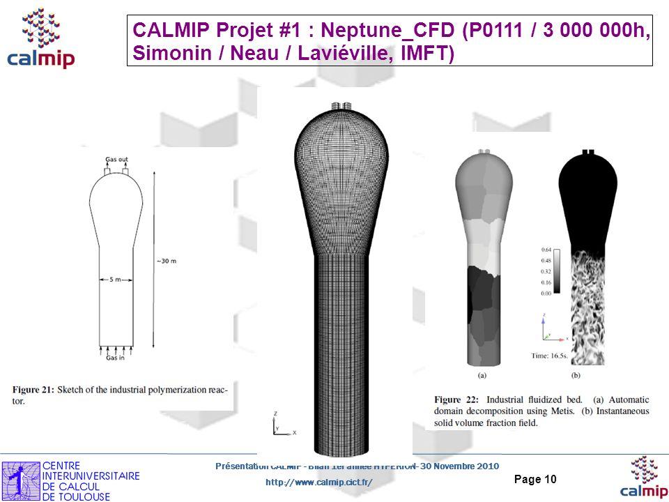 CALMIP Projet #1 : Neptune_CFD (P0111 / 3 000 000h,