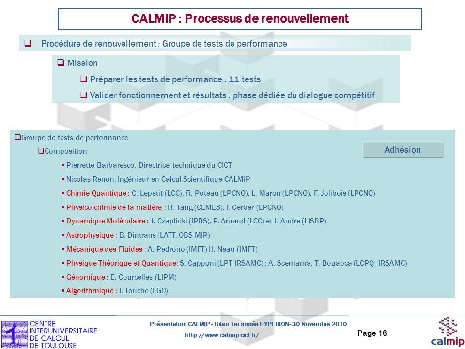 CALMIP : Processus de renouvellement