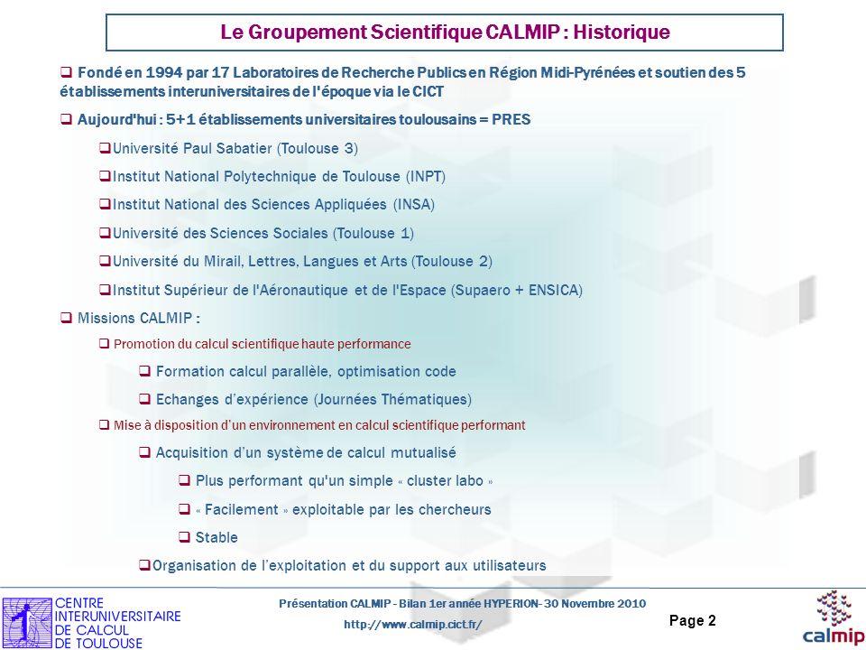 Le Groupement Scientifique CALMIP : Historique