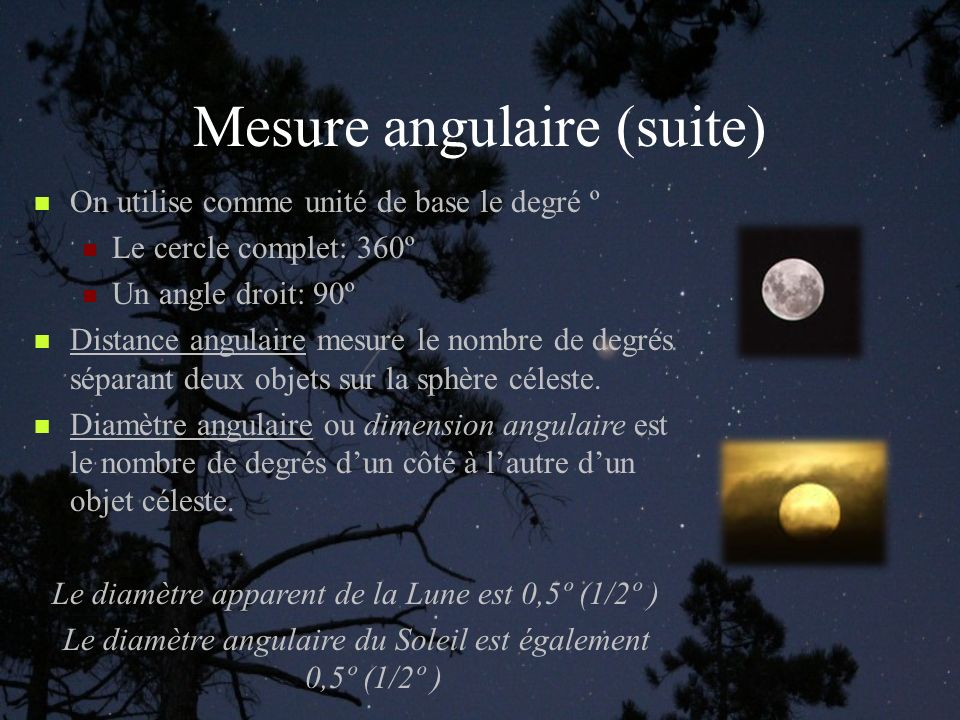 Mesure angulaire (suite)