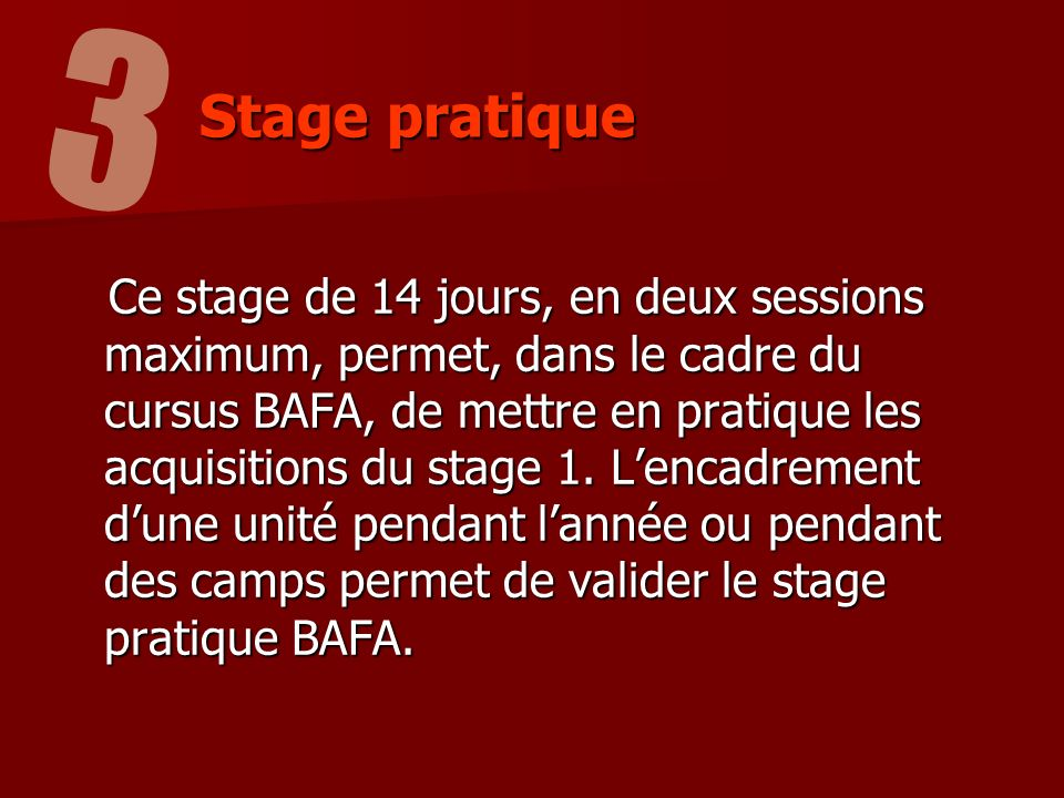 3 Stage pratique.