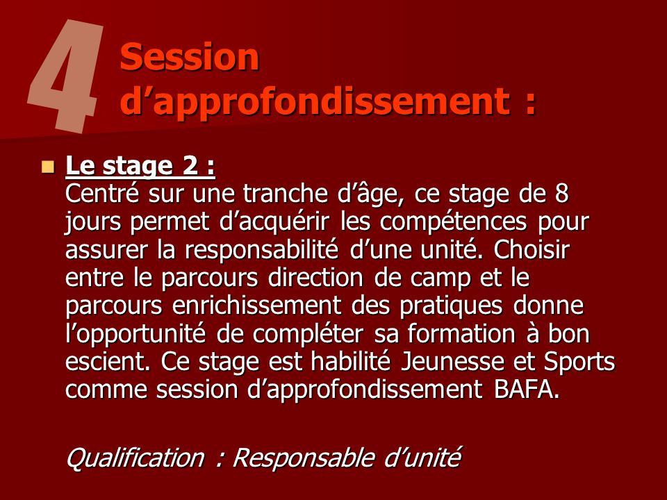 Session d'approfondissement :