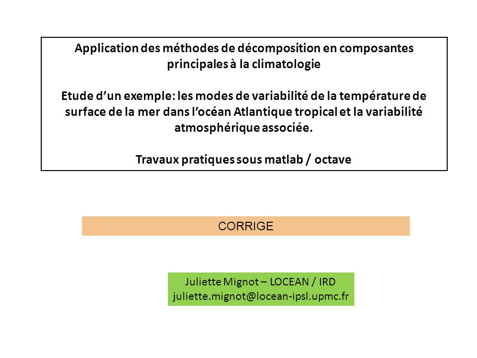 Travaux pratiques sous matlab / octave