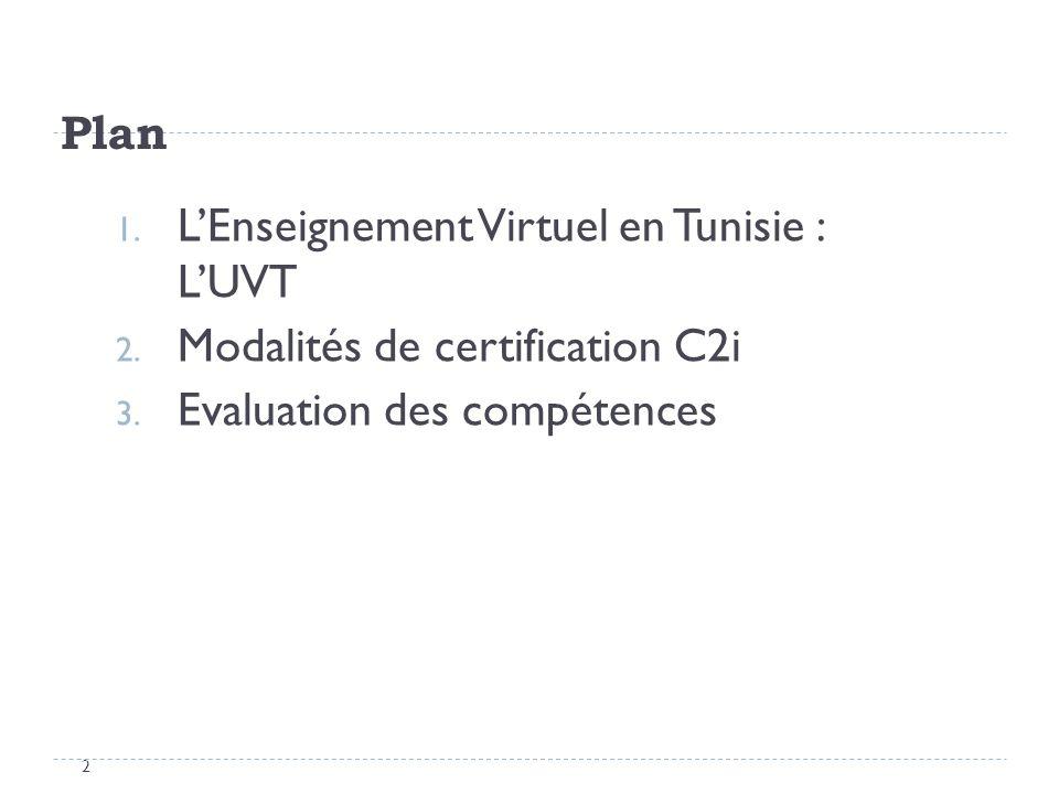Plan L'Enseignement Virtuel en Tunisie : L'UVT. Modalités de certification C2i.