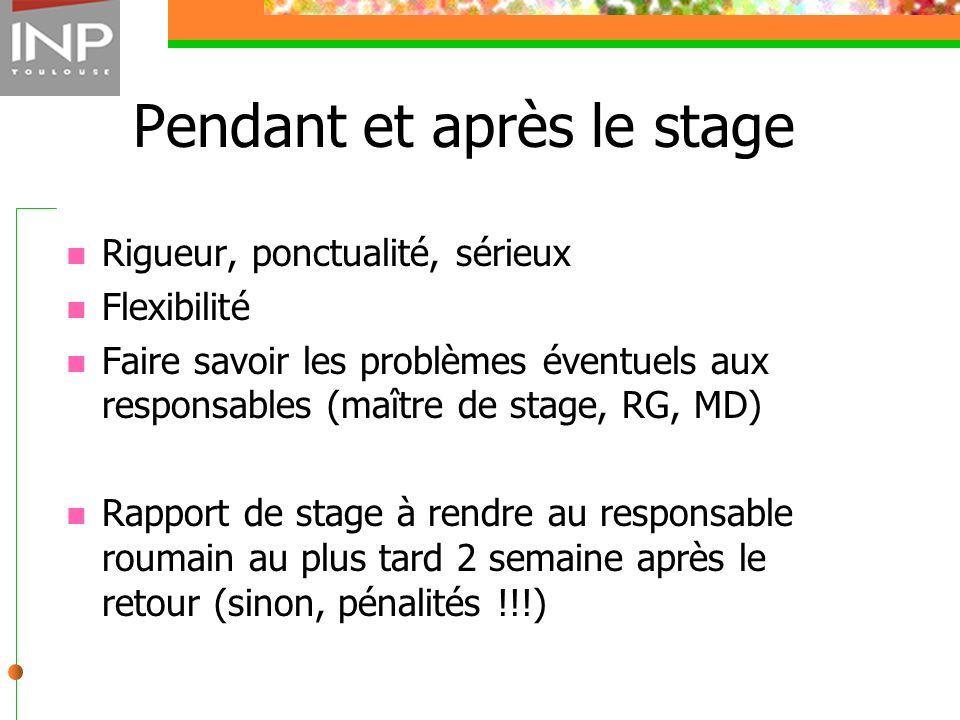 Pendant et après le stage