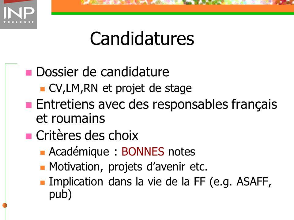 Candidatures Dossier de candidature
