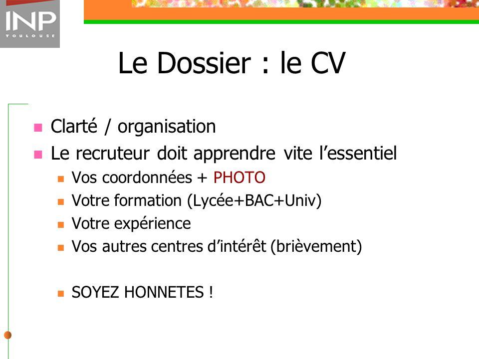 Le Dossier : le CV Clarté / organisation