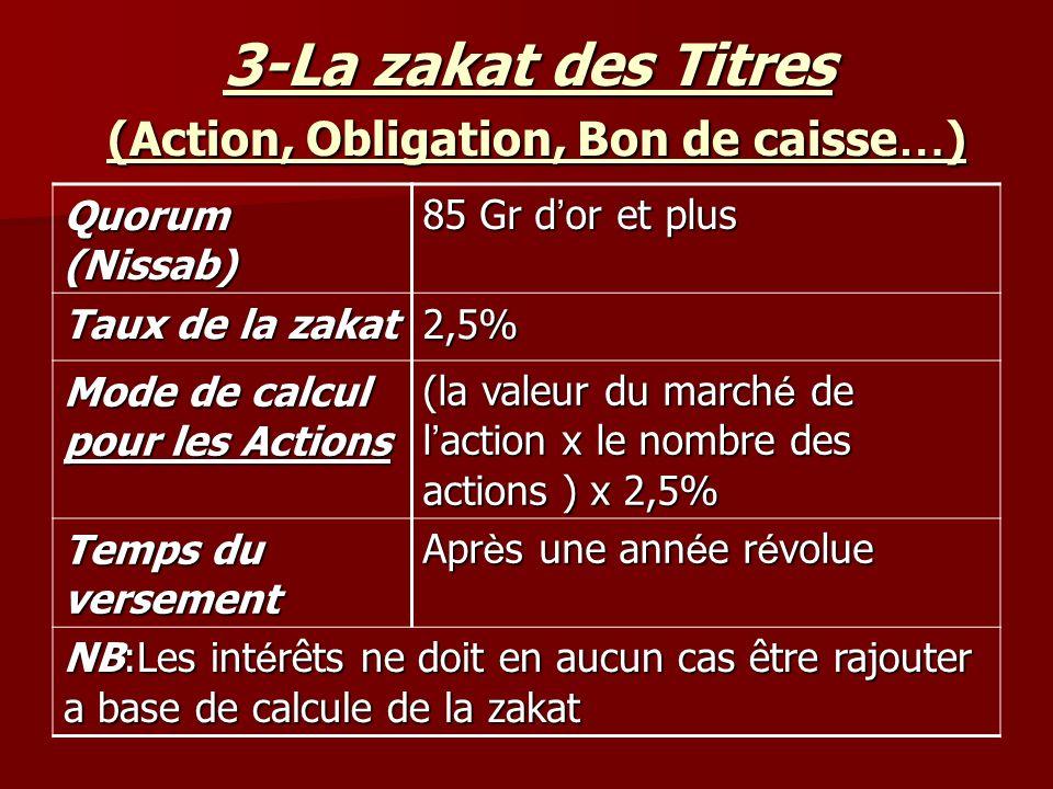 3-La zakat des Titres (Action, Obligation, Bon de caisse…)