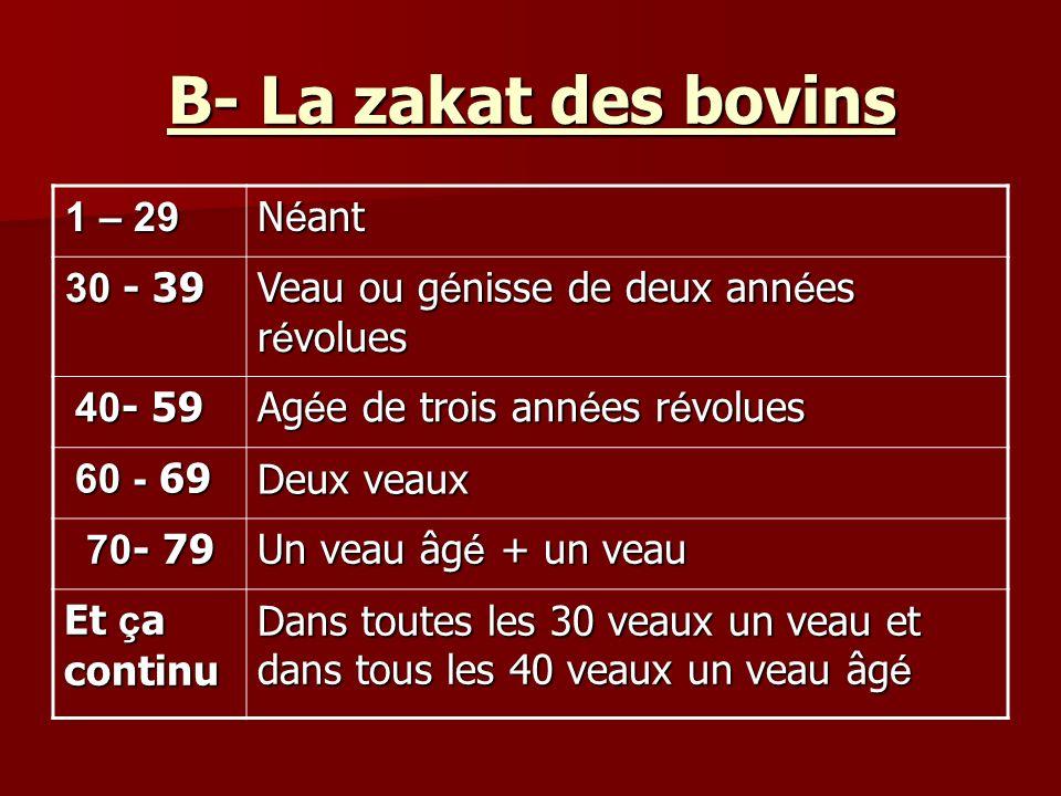 B- La zakat des bovins Néant 29 – 1