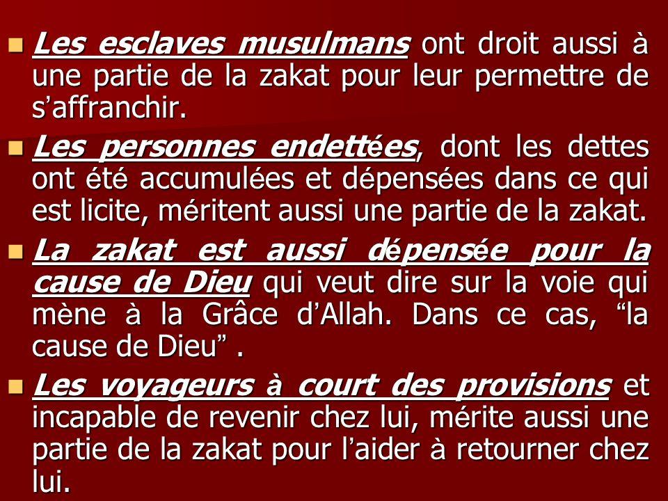 Les esclaves musulmans ont droit aussi à une partie de la zakat pour leur permettre de s'affranchir.
