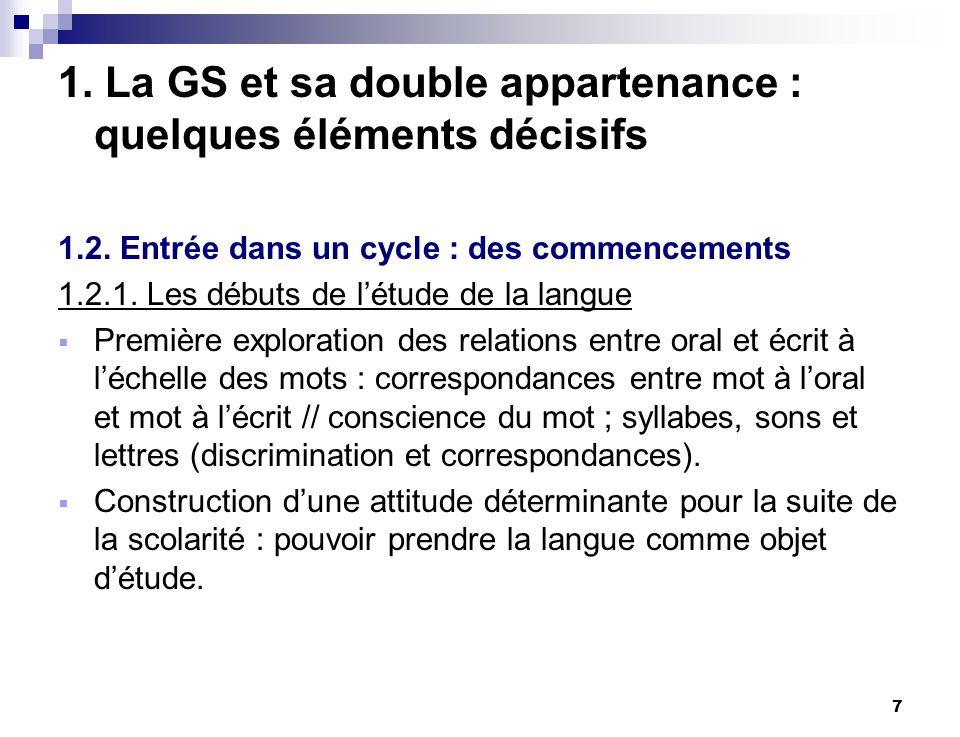 1. La GS et sa double appartenance : quelques éléments décisifs