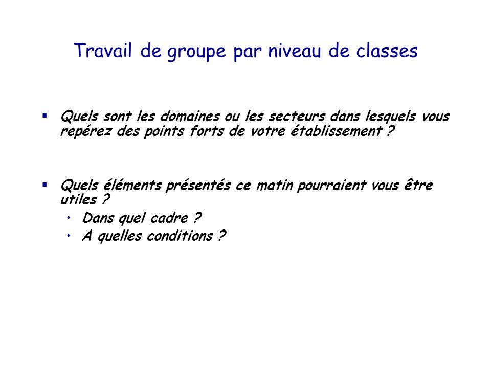 Travail de groupe par niveau de classes