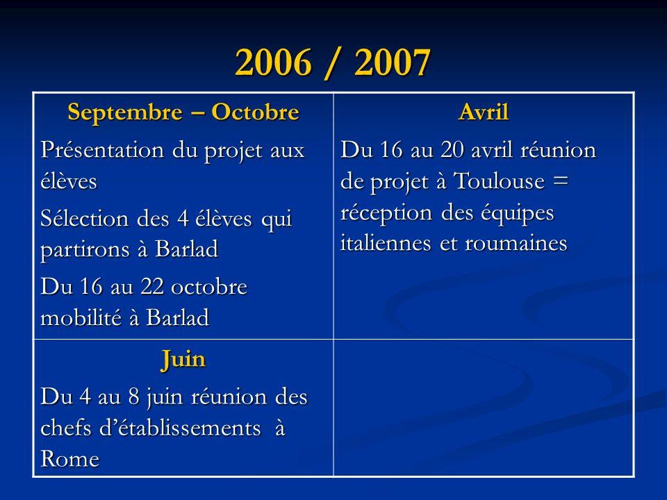 2006 / 2007 Septembre – Octobre Présentation du projet aux élèves