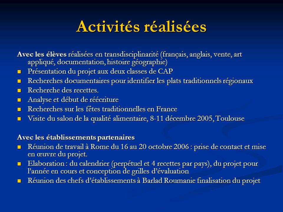Activités réalisées Avec les élèves réalisées en transdisciplinarité (français, anglais, vente, art appliqué, documentation, histoire géographie)