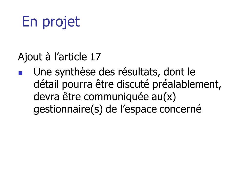 En projet Ajout à l'article 17