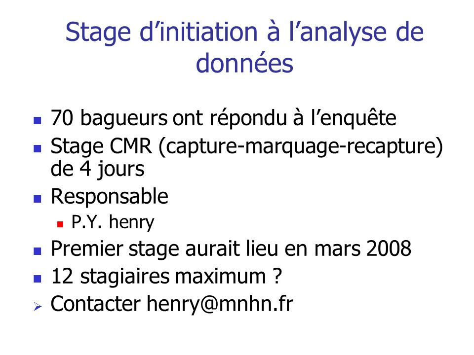 Stage d'initiation à l'analyse de données