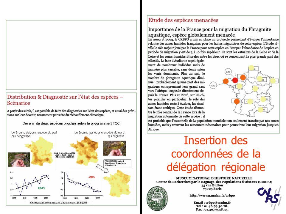 Insertion des coordonnées de la délégation régionale