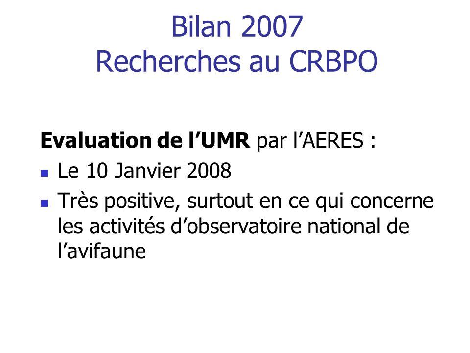 Bilan 2007 Recherches au CRBPO